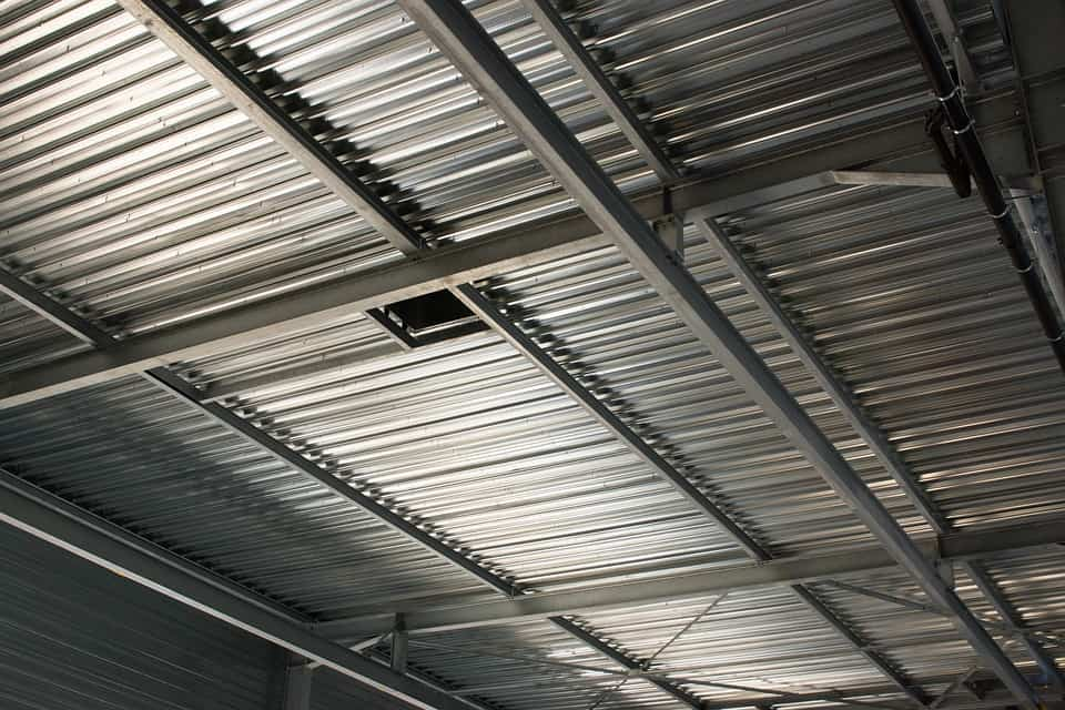 Metal siding in an industrial building